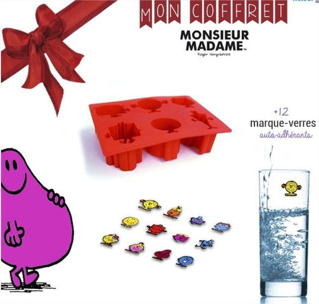 Coffret Monsieur Madame : 1 moule 6 empreintes silicone + 12 marque-verres anti-adhésifs