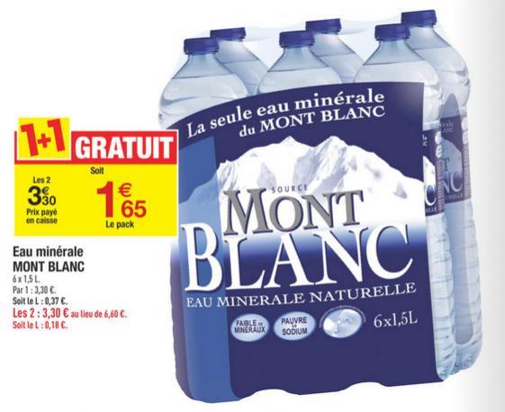 2 packs de 6 bouteilles d'eau Mont Blanc