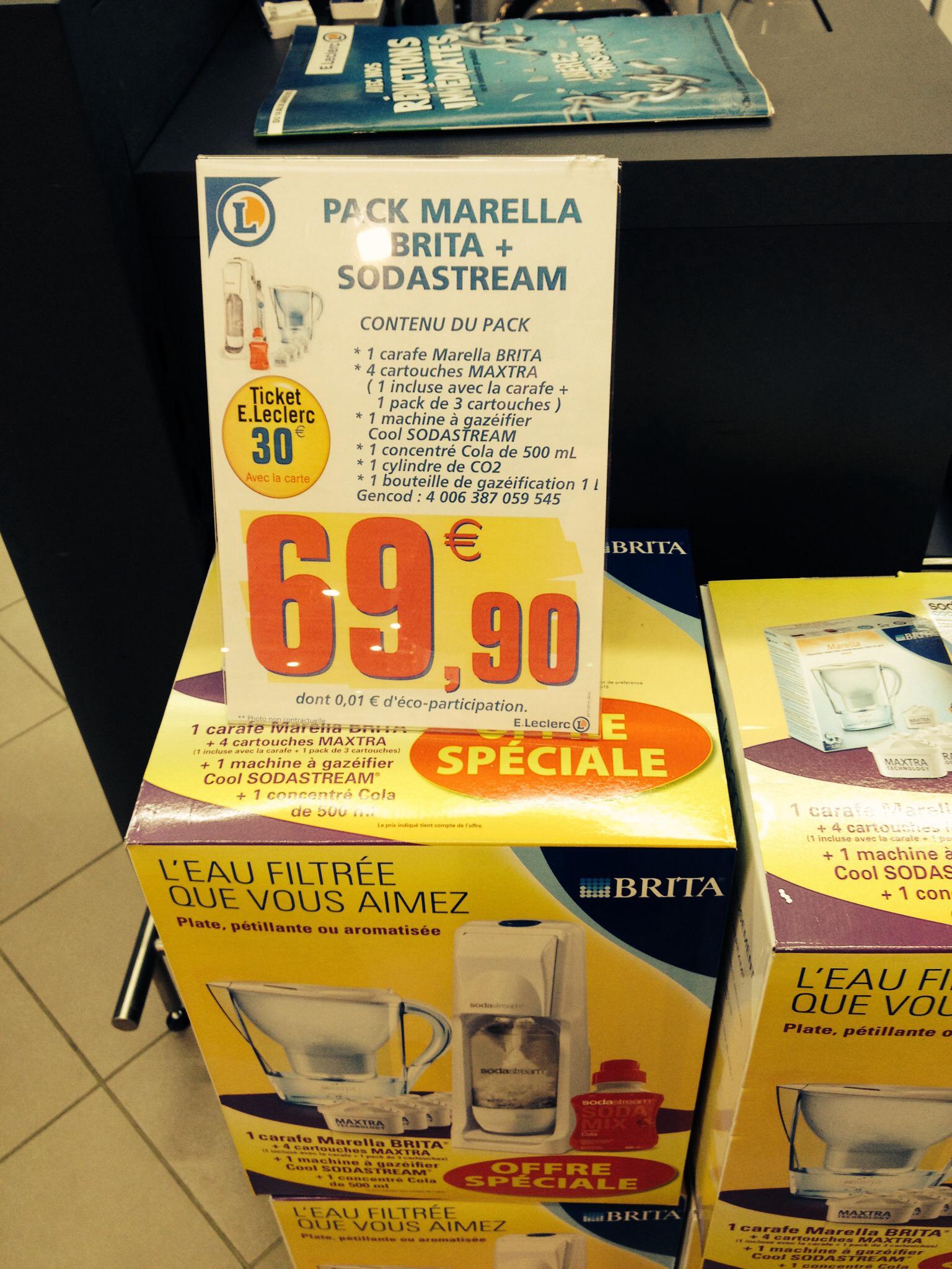 Pack Carafe Brita Marella + 4 Cartouches Maxtra + Machine à gazéifier Sodastream Cool (Avec 30€ sur la carte)