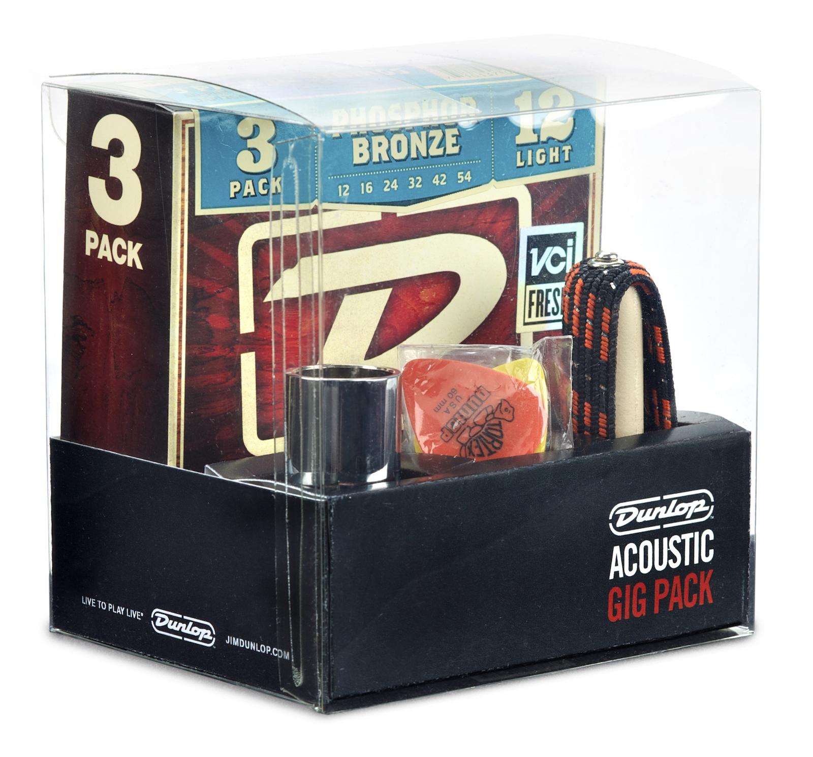 Pack d'accessoires Dunlop GA24 Gig Pack pour guitare acoustique (3 jeux de cordes, 12 médiators, 1 capodastre, 1 bottleneck)