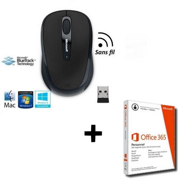Souris sans fil Microsoft Mobile Mouse 3500 + Microsoft Office 365 Perso PC/Mac