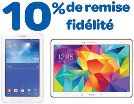 10% de remise fidélité sur une sélection de tablettes tactiles Samsung signalée