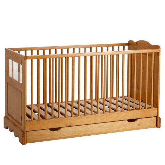 Lit bébé à tiroir, sommier modulable 3 hauteurs (120 cm x 60 cm)