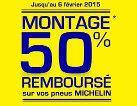 50% du montage remboursé  pour l'achat  de pneus michelin