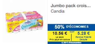 5 packs de jumbo (24x25cl) baby croissance Candia