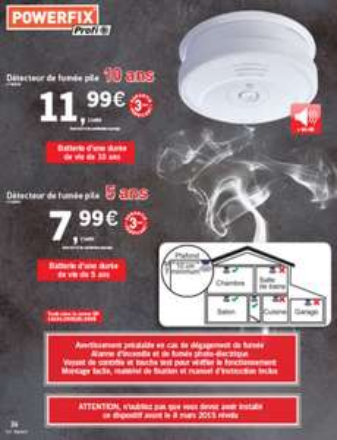 Détecteur de fumée Powerfix Profi+ avec pile 10 ans à 11.99€ ou 5 ans