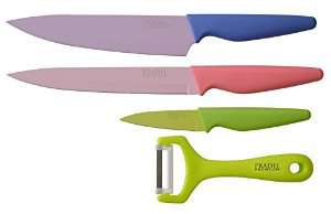 Set de 3 Couteaux Revêtement Céramique/Acier-Inox et Éplucheur