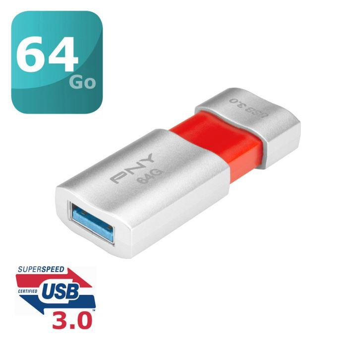 Clé USB3.0 PNY Wave Attaché 64Go