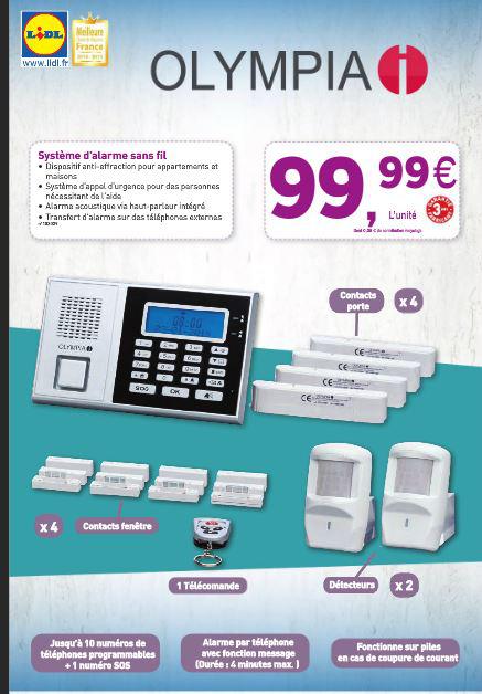 Système d'alarme Olympia 6571 avec branchement sur ligne téléphonique RTS (et non pas GSM carte Sim)