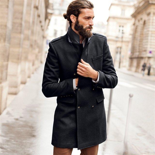 Manteau homme SOFT GREY en drap de laine gris chine