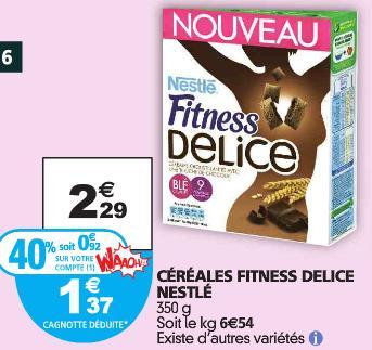 Céréales Fitness de Nestlé 350g (40% sur carte + BDR)