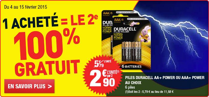 4 packs de 6 Piles Duracell plus Power LR03 ou LR06 gratuits (50% via ODR)