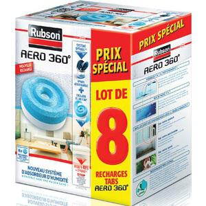 Lot de 8 recharges Aéro Rubson (50% ODR + 30% sur la carte Carrefour)
