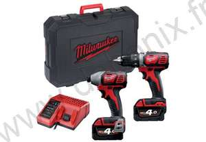 Perceuse Visseuse Milwaukee BDD-402C + Visseuse à chocs M18 BID-0 + 2 batteries 4Ah