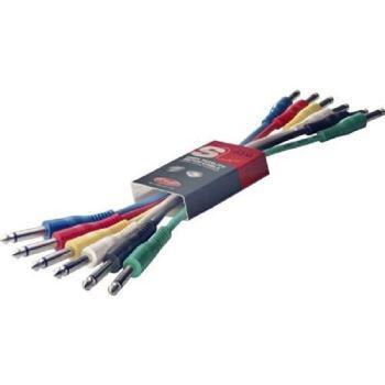 Lot de 6 Câbles Stagg Jack-Jack Mono Métal Noir - 60 cm (pour pédales d'effet)