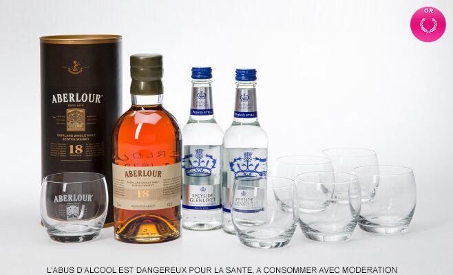 Whisky Aberlour 18 ans d'âge, (avec 6 verres à dégustation + 2 bout. eau Speyside 33cl)