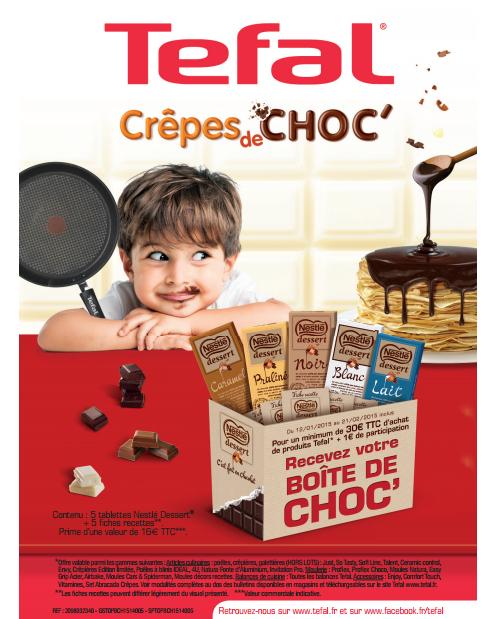 Lot de 5 tablettes de chocolat Nestlé Dessert offertes pour 30€ d'achat Tefal + 1€