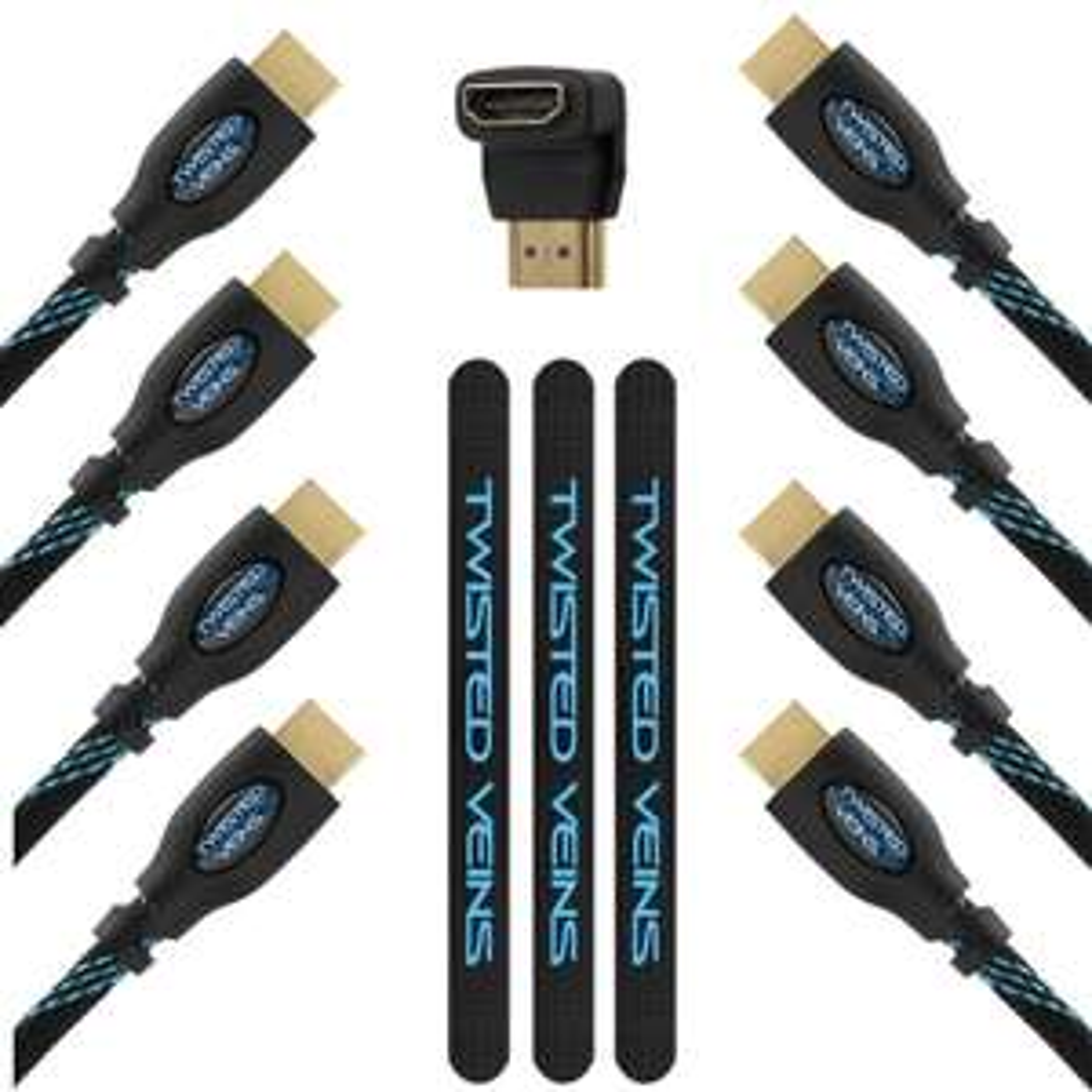 Pack de 4 Câbles HDMI  (trois de 90cm et un 3 m avec un adaptateur angle droit) Twisted Veins 3ACHB10