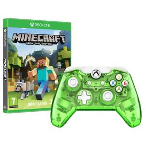 Manette Xbox One Vert transparent + Jeu minecraft sur Xbox One