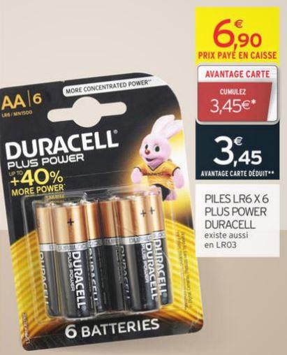 4 packs de 6 piles Duracell Plus Power LR6 ou LR3 gratuit (50% en avantage carte + ODR 50%)