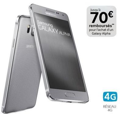 "Smartphone 4.7""  Samsung Galaxy Alpha Argent -  32Go (ODR 70€)"