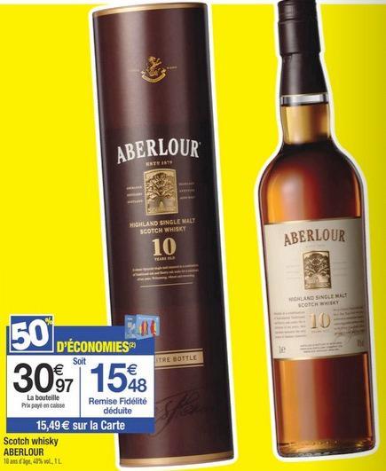 Scotch Whisky Aberlour 1L 10 ans d'age (50% sur carte fidélité)