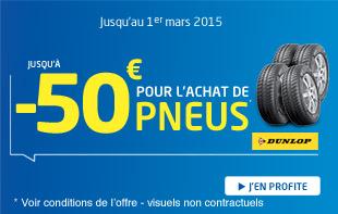 Jusqu'à -50€ de réduction pour l'achat de 4 pneus Dunlop