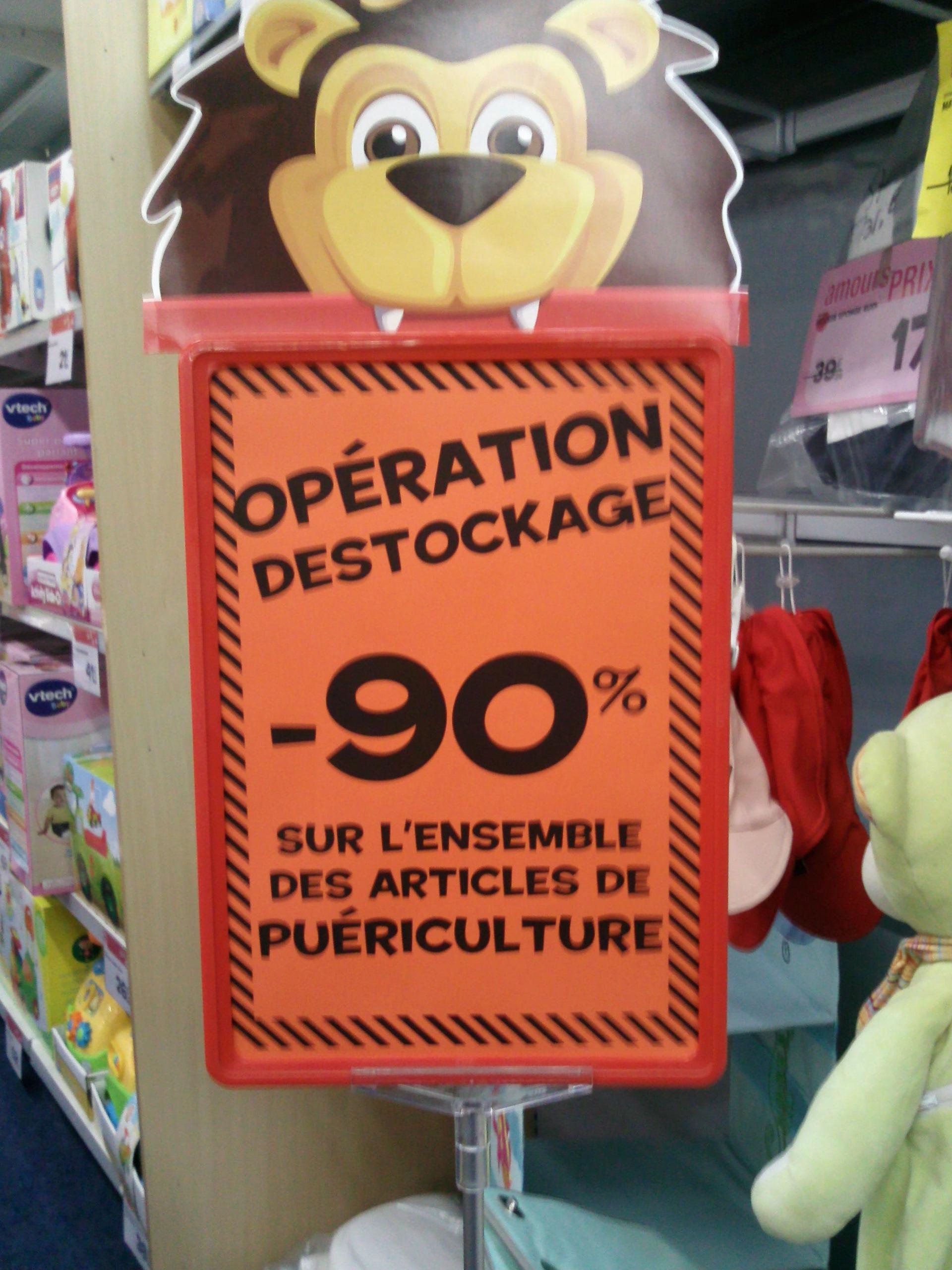 Déstockage 90% de réduction sur l'ensemble des articles de puériculture