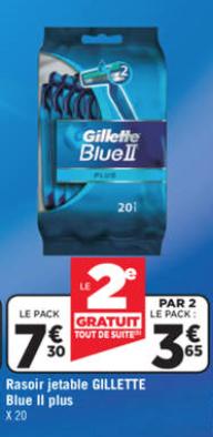 2 packs de 20 rasoirs jetables Gillette Blue II plus (soit 40 rasoirs)