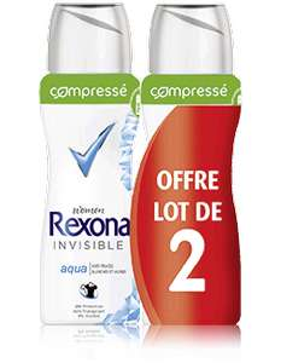 Lot de 2 Déodorants Rexona Women Invisible Aqua (2.27€ en ticket + bon de réduction)