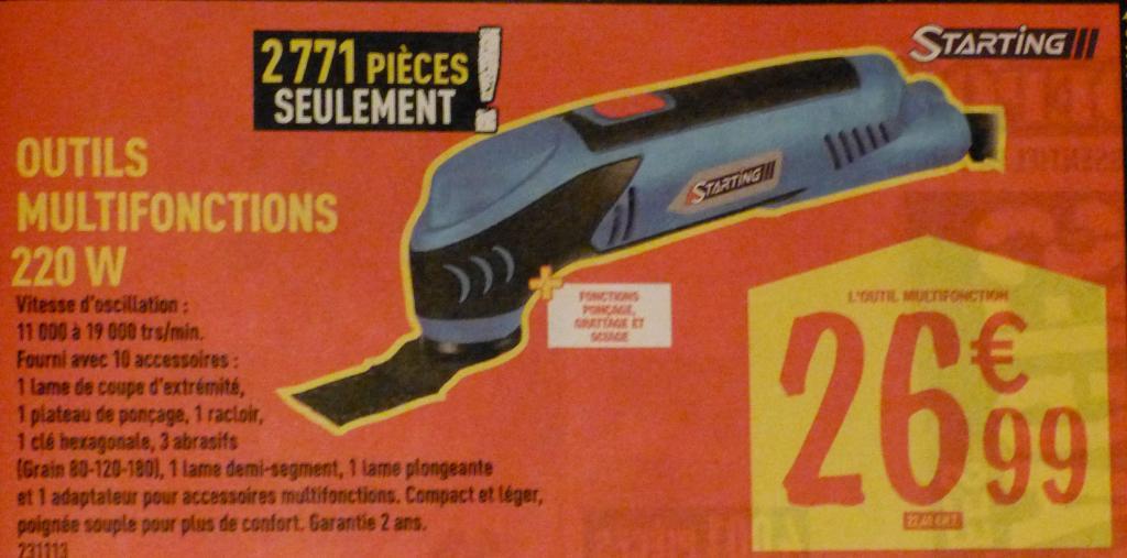Outil Multifonctions 220 W (ponçage, grattage, sciage)