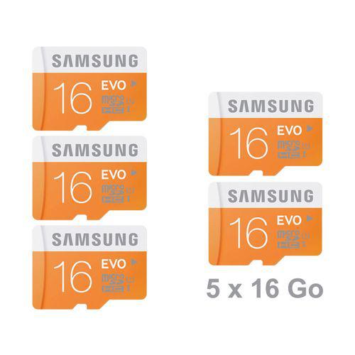 Lot de 5 Cartes Mémoires Micro SD Samsung Evo 16 Go classe 10