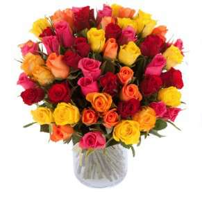 Bouquet de 51 roses multicolores