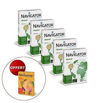Pack de 5 ramettes de papier Navigator A4 + 1 Ramette couleur