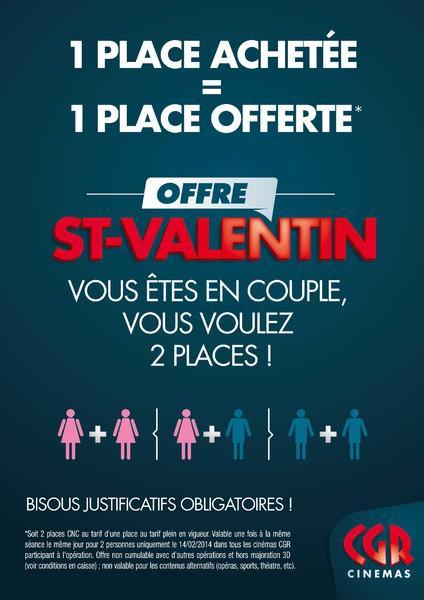1 Place achetée = 1 place offerte pour la St-Valentin, soit les 2 places