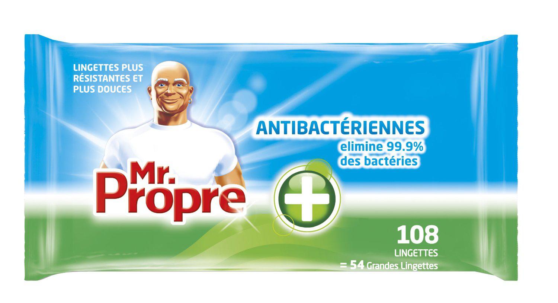 Lot de 3 sachets de 108 lingettes Nettoyantes Antibactérien Mr Propre