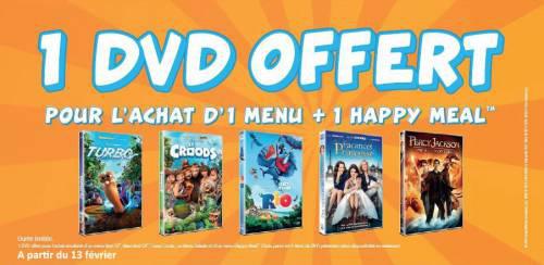 Un DVD offert pour l'achat d'un menu et d'un Happy Meal