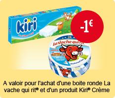 Lot de fromages :  x32 vache qui rit  et x24 kiri (50% sur la carte et 1€ de BDR)