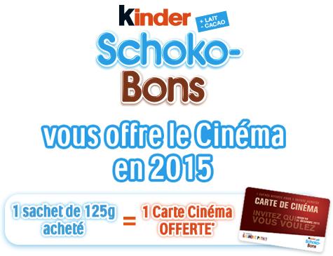 Carte de cinéma Gaumont et Pathé 2 pour 1 offerte pour l'achat de Kinder Schoko-Bons 125g