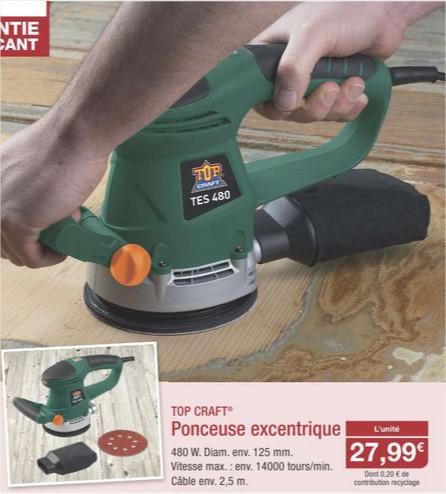Sélection d'outils en promo - Ex : Ponceuse excentrique Top Craft 480w