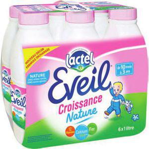 Pack de 6 boutelles de 1L de Lait Lactel Eveil Croissance Nature (50% sur carte + bdr + C-Wallet)