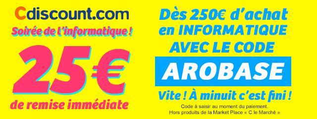 25€ pour 250€ dépensé dans le rayon informatique sur les applications et le site mobile