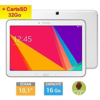 Tablette Samsung Galaxy Tab 4 10'' Blanche + carte microSD Samsung Evo 32Go (30€ ODR)