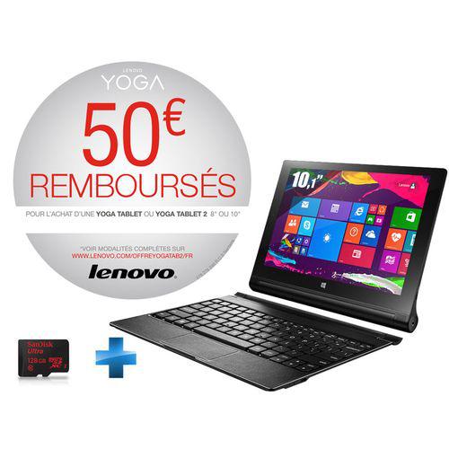 """Tablette 10.1"""" Lenovo Yoga Tablet 2-10-51 - 32 Go   + clavier  + Carte Mémoire Micro SDXC 128 Go (ODR 50€)"""