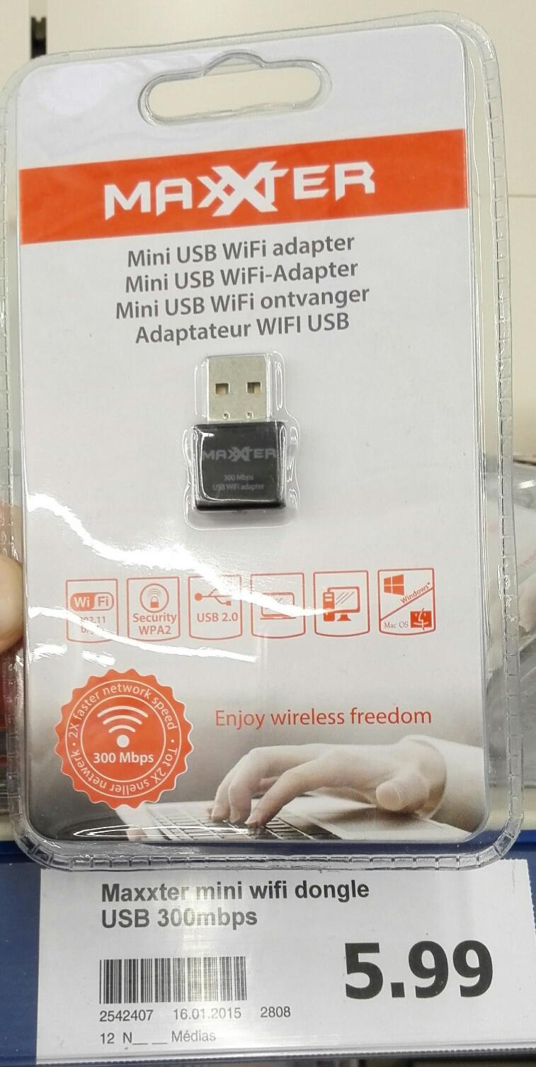 Clé USB  Wifi 802.11 b/g/n 300Mbps Maxxter - Chipset RTL8192EU
