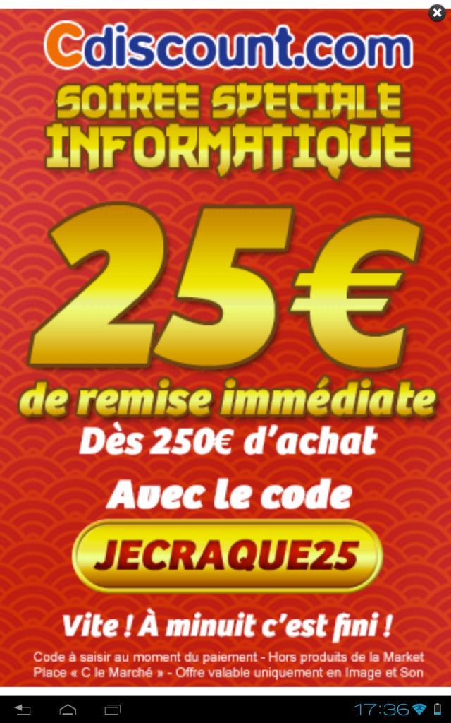25€ de réduction immédiate dès 250€ d'achat dans le rayon Informatique
