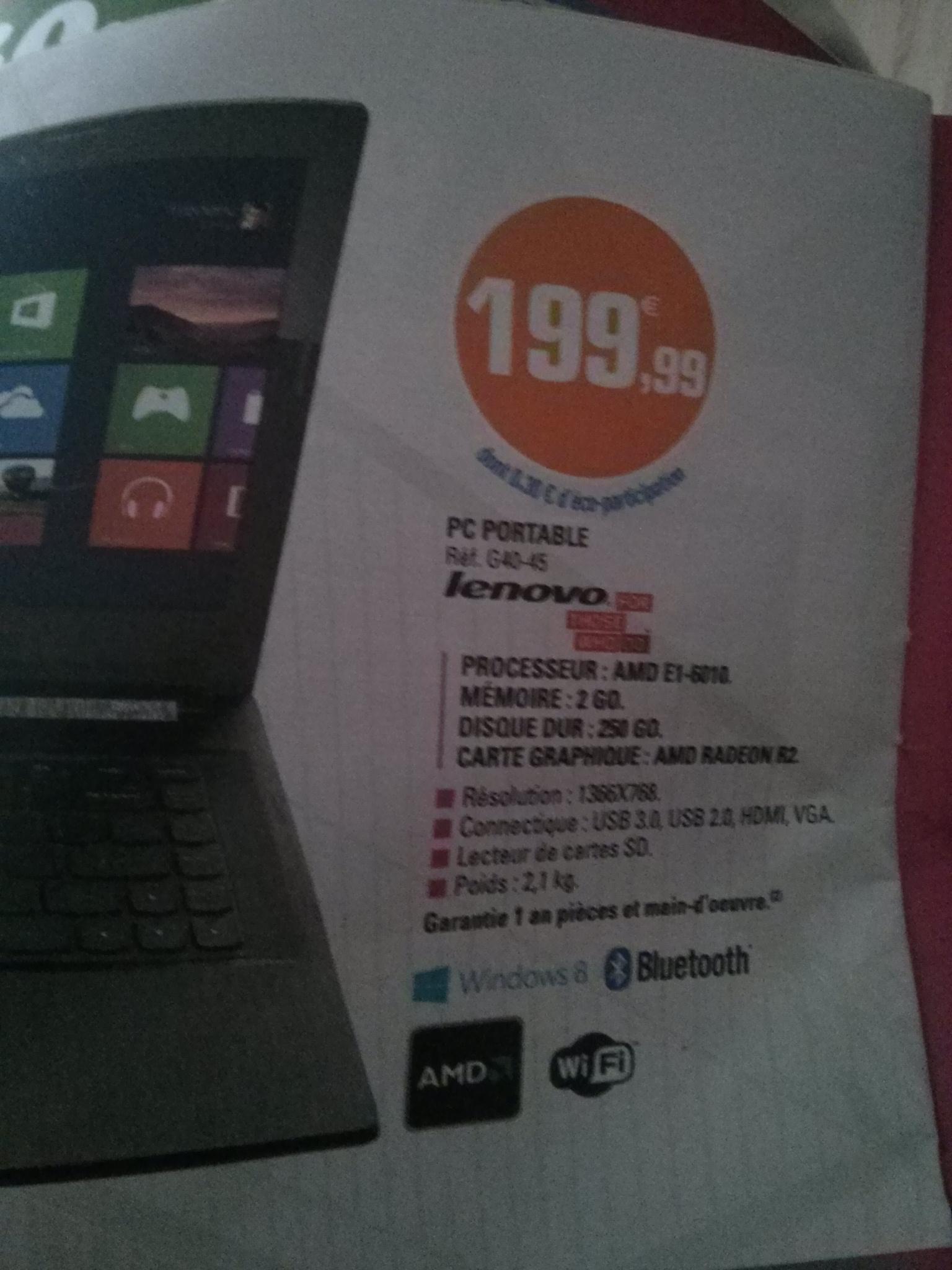 """PC portable 14"""" Lenovo G40-45 ( AMD e1-6010, 2 Go RAM, 250 Go HDD)"""