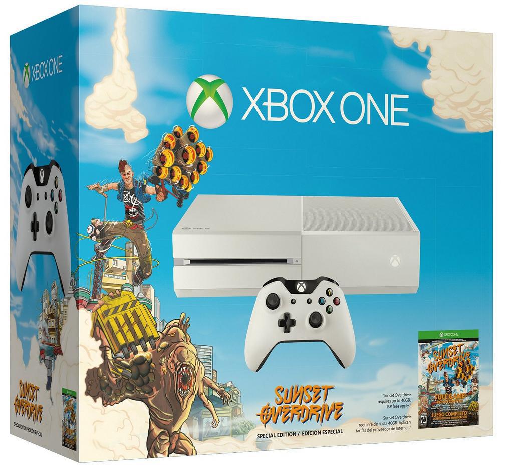 "Différents packs Xbox One - Ex: Xbox One Blanche + Sunset Overdrive + Forza 5 GOTY (Dématérialisé) + Evolve ou Halo Masterchief (+ MapBook & Livre Collector ""La Saga Halo"")"