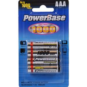 "4 Piles rechargeables Nimh ""PowerBase"" AAA 1000mAh"