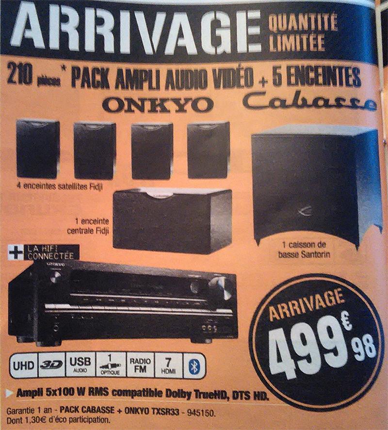 Ampli Home-cinéma Onkyo TX-SR333 + Pack d'enceintes 5.1 Cabasse Fidji